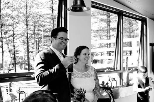 burleigh heads wedding kiss the groom-0695